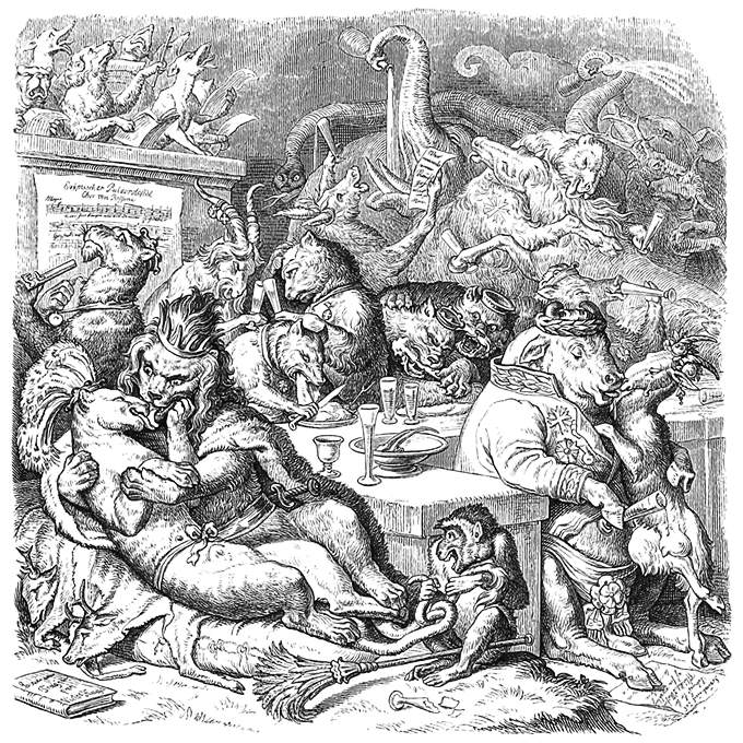A wild dinner party is taking place, where animals kiss, dance, and greedily eat and drink