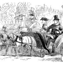 A couple riding in a phaeton is taken over at a gate by a man on horseback