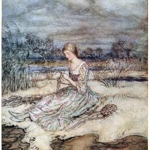 A young woman is sitting in a landscape of marshland, busy plaiting rushes