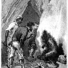 Three men are gathered around an orang-outang at the entrance of a cave