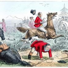 At a fox hunting meet, a man has fallen from his horse and tries to get back to his feet