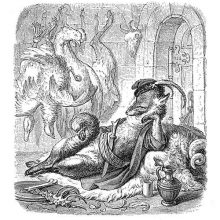 Reynard the Fox is reclining on a couch with a plate displaying poultry bones before him