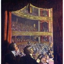 Two men are seen from behind sitting in a box at the theater and looking at the audience