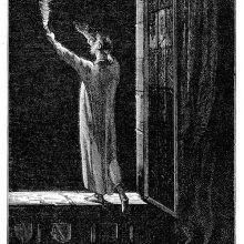 A man in a nightshirt stands on a windowsill holding a torch and gesturing toward the sky
