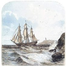 A ship sails toward the open sea, leaving behind the rocky shore and the lighthouse