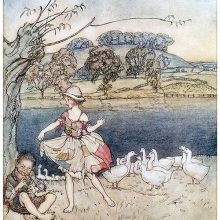 A girl in patched clothes dances by a pond to the music of a gooseherd playing the flute