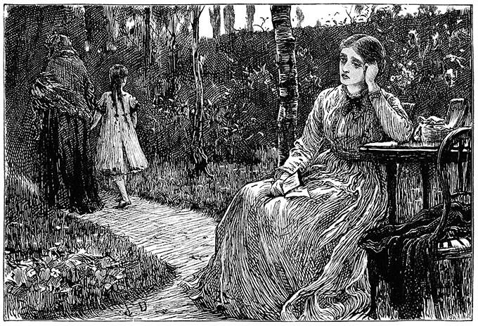 A woman sitting at a table in a garden leans her head on her hand, looking wistful