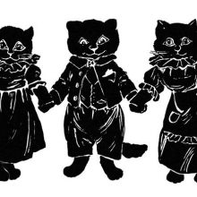 Three kittens hold hands, the center one dressed as a boy, the two others as girls