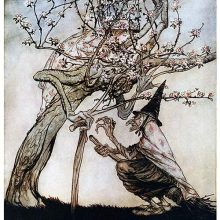 A witch addresses a tree with a human-like face, not seeing a girl hiding in the blossoms
