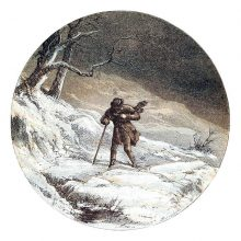 A man with a stick struggles against the wind in a snowy landscape
