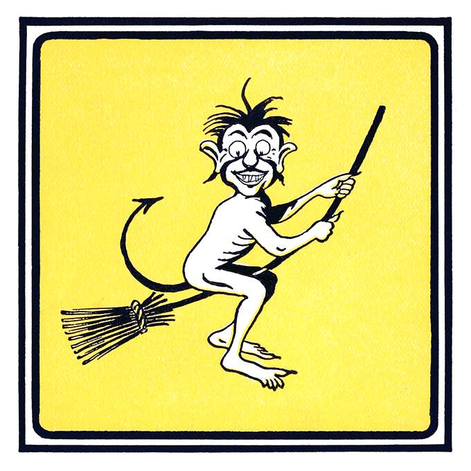 A smiling and disheveled creature with a tail ending like an arrowhead rides a broom