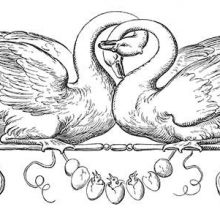 Two swans with entwined necks sit on a stem decorated with volutes and a garland of eggs