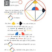 Page of a textbook on Euclid's Elements illustrated with geometric shapes in various colors