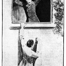 A man hangs outside a window as another wields a meat cleaver from inside