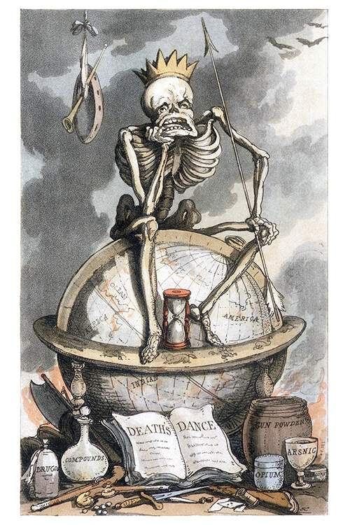 A crowned skeleton symbolizing Death sits pensively on a globe, holding an arrow