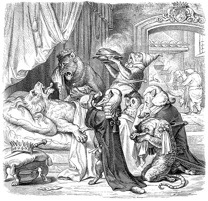 The king lies in bed in agony, surrounded by doctors and grieving courtiers