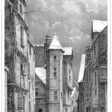 View of a snowy street with children playing and a polygonal staircase tower