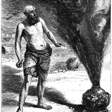 A man stands beside a jar oozing dark smoke in the midst of which a figure is taking shape