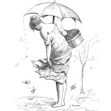 A woman holds an umbrella and looks down at a puddle into which leaves are falling