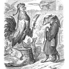 Reynard is dressed as a monk and looks steeped in piety as a rooster examines his credentials
