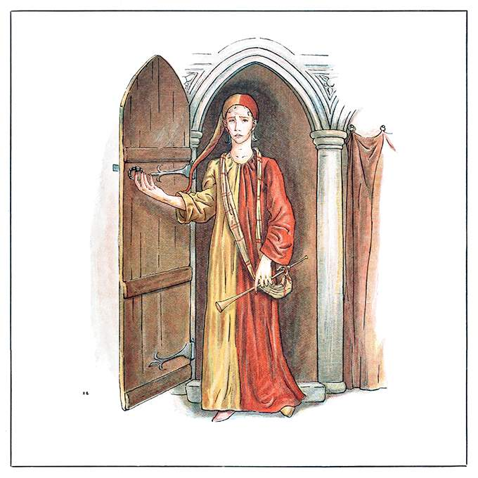 A man wearing a yellow and red robe and carrying a shawm-shaped pipe pushes a door open