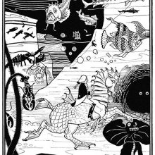A man rides a fantasy horse at the bottom of the sea in the presence of various sea animals