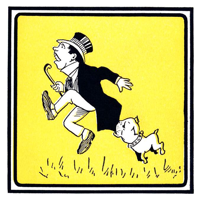 A man runs as he is chased and caught by the tail of his jacket by a small bulldog