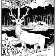 A stag with a cherry tree growing on its head stands on the bank of a stream