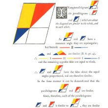 Page of a geometry textbook on Euclid's Elements showing parallelograms in various colors