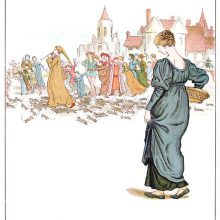 A woman with a basket watches as a piper leads a swarm of rats away from a medieval city