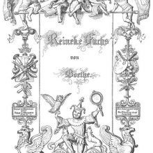 Illustrated title page of Reineke Fuchs showing monkeys playing music and a jester with an owl