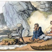Two castaways mope on a shore as Death represented as a skeleton sits on a rock opposite them