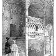 View of a spiral staircase topped by palm vaulting in the Logis Barrault, Angers
