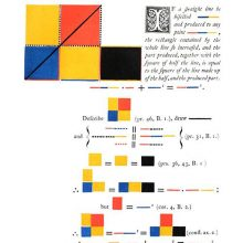 Page of a geometry textbook illustrated with rectangles and lines of various colors