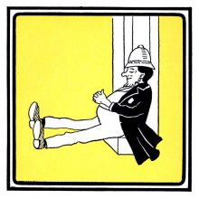 A policeman is reclining fast asleep against a door, his hands resting on his belly