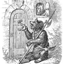A bear with a morion and halberd knocks on Reynard's door, who peeks out the window