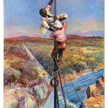 Two men are the top of a telegraph pole overlooking a waterfall, securing it with wiring