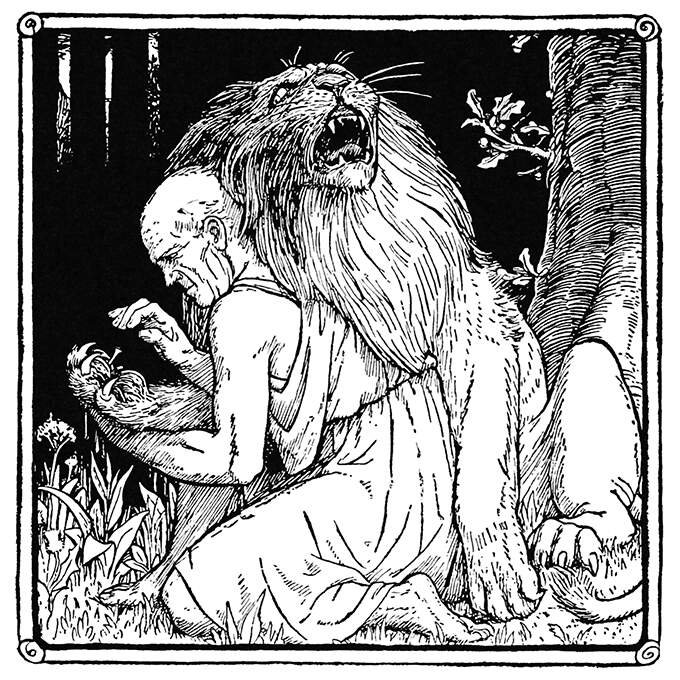 In a forest, a man wearing a toga kneels down to take a thorn out of a lion's paw