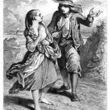 A young man in a hat points forward while speaking to a young woman going barefoot
