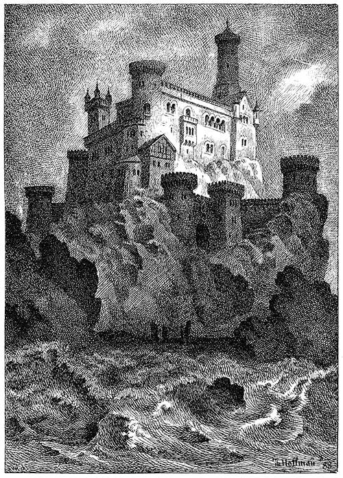 View of a castle overlooking a stormy lake, with its highest tower soaring into the sky