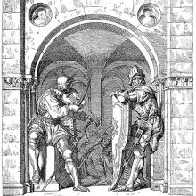 Two soldiers are at an arched entrance, one leaning on a shield, the other playing the violin