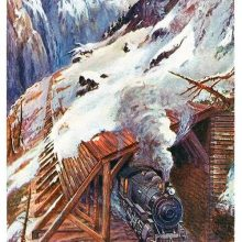 A steam locomotive comes out of a wooden snow shed built along a railway