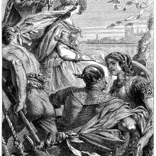 A king throws a piece of garment from a boat followed by that of a couple in armor