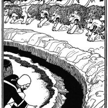 A man scatters powder on the edge of a circular ditch as a group of lions moves toward him