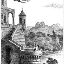 A dragon comes flying over a castle overlooking a lake as a woman stands on a turret