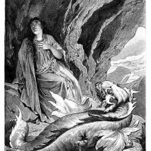 A woman sits in a cave high in the mountains with a dragon at her feet