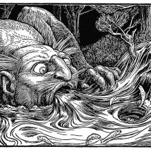 A monstrous male figure crouches by a stream, his mouth open wide to swallow the water