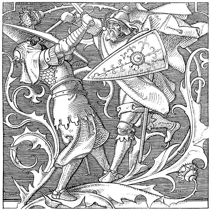 Two warriors in medieval attire fight each other among the flowers and leaves of a large thistle
