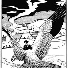 A man is seen from behind riding the back of a large eagle over a countryside landscape