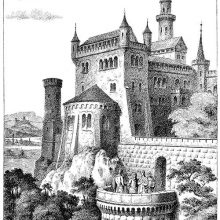 View of an imaginary medieval castle with battlements, turrets and bartizans